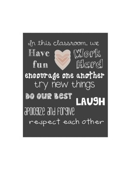 """""""In this classroom..."""" gift printable"""