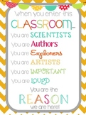 """""""When you enter this classroom""""... motivational printable (Freebie!)"""