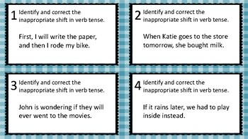 Inappropriate Shifts in Verb Tense Task Cards