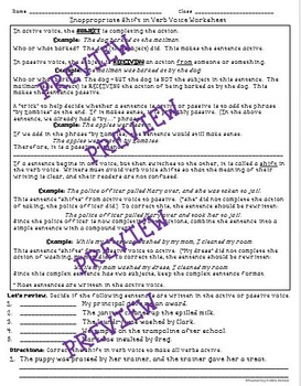 Inappropriate Shifts in Verb Voice - a Common Core worksheet