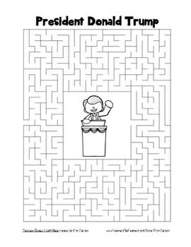 Inauguration Day – Donald Trump -  Word Search & Maze! (black line version)