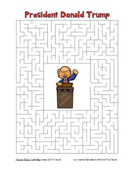 Inauguration Day – President Donald Trump - Maze! (color and black line)