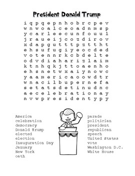 Inauguration Day – President Donald Trump - Word Search! (color & black line)