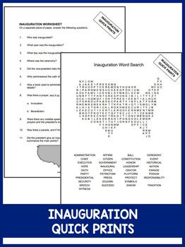 Inauguration Day QUICK PRINTS (No Prep)
