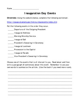 Inauguration Website Worksheet