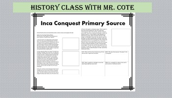 Inca Conquest Primary Source with DOK