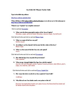 Inca Daily Life Webquest (with answer key)