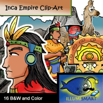 Inca Empire Clip-Art: 16 Pieces BW and Color
