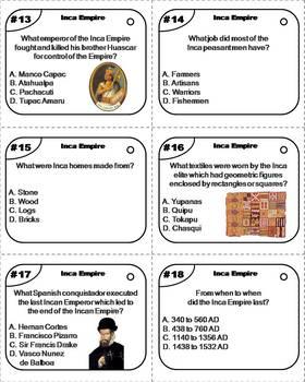 Inca Empire Task Cards
