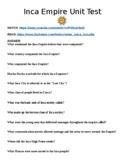 """Inca Empire Unit Test """"Watch, Read & Answer"""" Online Assignment (Word)"""
