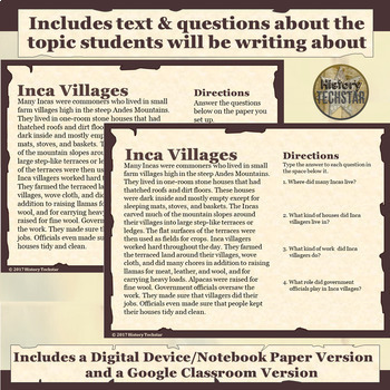 Inca Empire Village Short Story Writing Activity