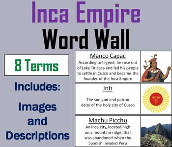 Inca Empire Word Wall Cards