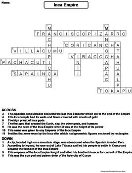 Inca Empire Worksheet/ Crossword Puzzle