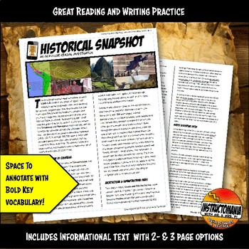 Inca Historical Snapshot Close Reading Investigation, Analysis and Annotation