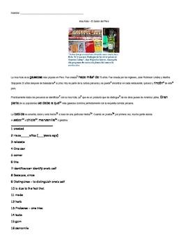 Inca Kola Reading - comprehension questions for food chapter (la comida)