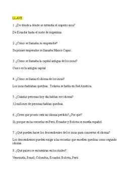 Inca Web Quest