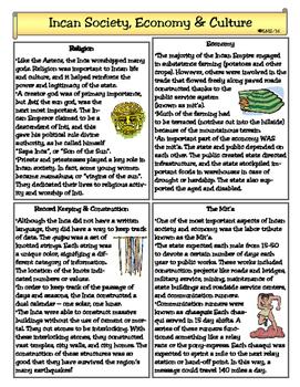 Incan Society, Economy & Culture