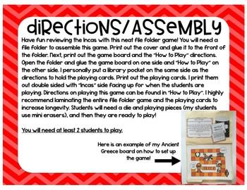 Incas Game (File Folder Board Game)