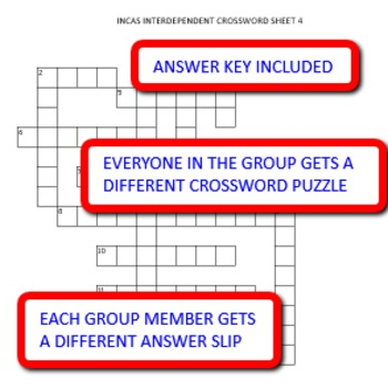 Incas: Interdependent Crossword Puzzles Activity