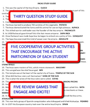 Incas: Study Guide and Activity Pack