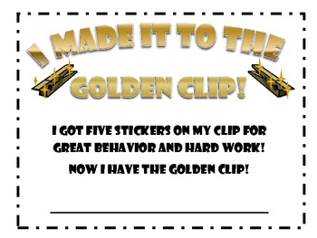 Incentive Certificates for Behavior Clip chart