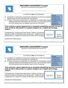 Incentive: Homework and Classwork Coupon