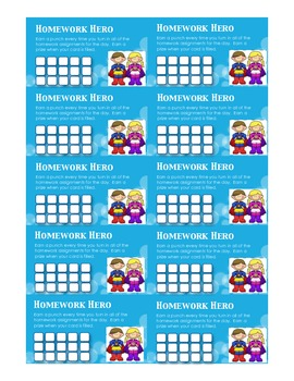 Incentive Punch Card for Homework