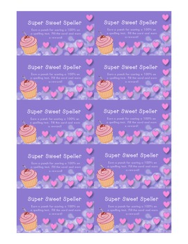 Incentive Punch Card for Spelling