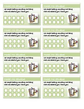 Incentive Punch Cards - Model Me Student