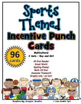 Incentive Punch Cards - Multicultural Boy/Girl Sports Themed
