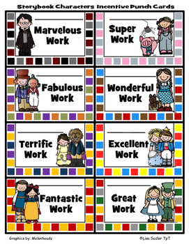 Incentive Punch Cards - Storybook Character Themed
