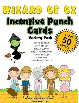 Incentive Punch Cards - Wizard of Oz Themed