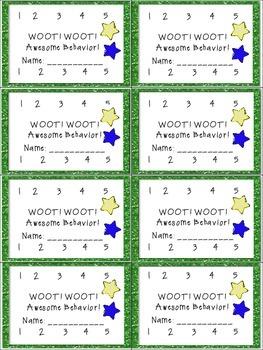 Incentive Punch Cards for Homework & Behavior  Back To School
