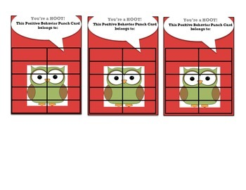 Incentive Punch Cards:Owl Theme