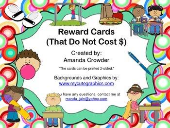 Incentive/Reward Cards ~ No Cost Rewards