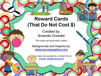 Incentive/Reward Cards ~ No Cost Rewards