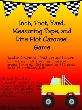 Inch, Foot, Yard, Measuring Tape, and Line Plot Carousel Game