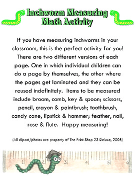 Inch Worm Measuring Math Activity