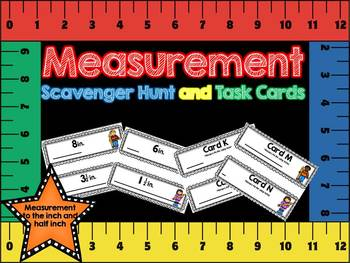 Inch and Half Inch Measurement Scavenger Hunt and Task Cards