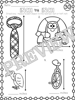 Inch by Inch: Morning Measuring Activity Sheets
