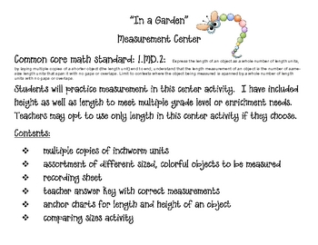 Inchworm Measuring Center for Common Core Math Standards