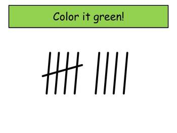 Inchworm Tally Marks - Beginning Watch, Think, Color! CCSS.K.NBT.A.1