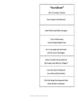 Incident by Countee Cullen Foldable for Poetry Analysis Harlem Renaissance