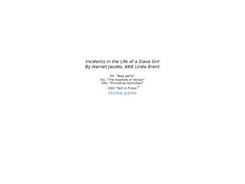 Incidents in the Life of a Slave Girl: Chapters 20- 23 Rev