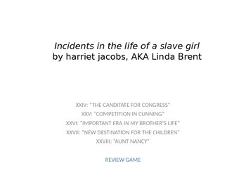 Incidents in the Life of a Slave Girl: Chapters 24 through 28 Review Game