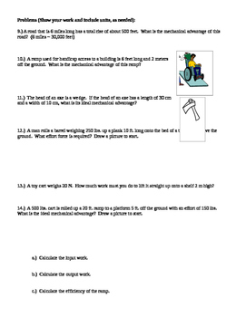 Inclined Planes Worksheet - a constant velocity(2 4 What force is ...