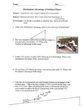 worksheet: Inclined Plane Worksheets Although This Is Often Drawn ...
