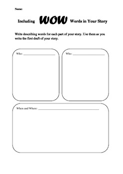 Including WOW Words in Your Story worksheet