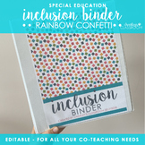Inclusion/Co-Teaching Binder (Rainbow Confetti)