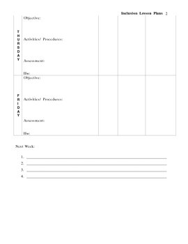 Inclusion Lesson Plan Template
